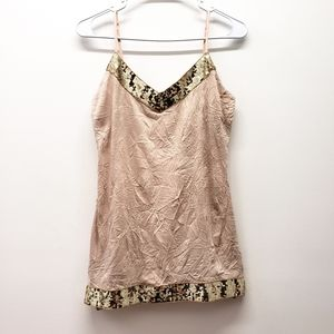 3 for $25 ❤ - tan camisole with gold sequins